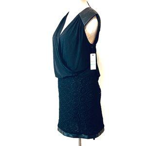 Laundry Black Sleeveless Mixed Textures Dress